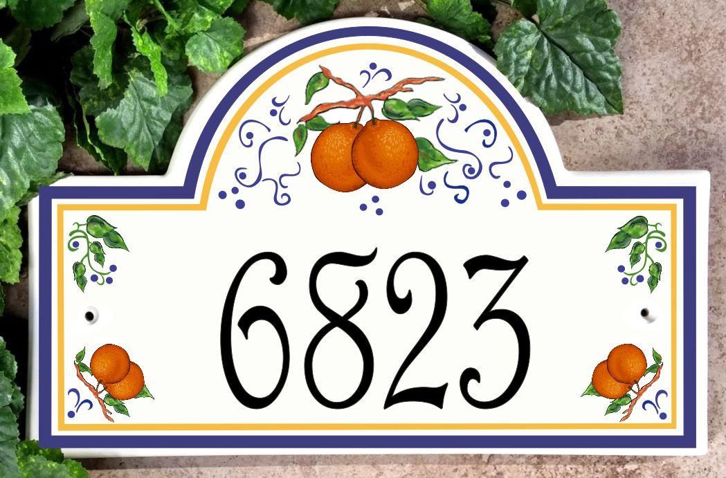 Oranges House Number Plaque