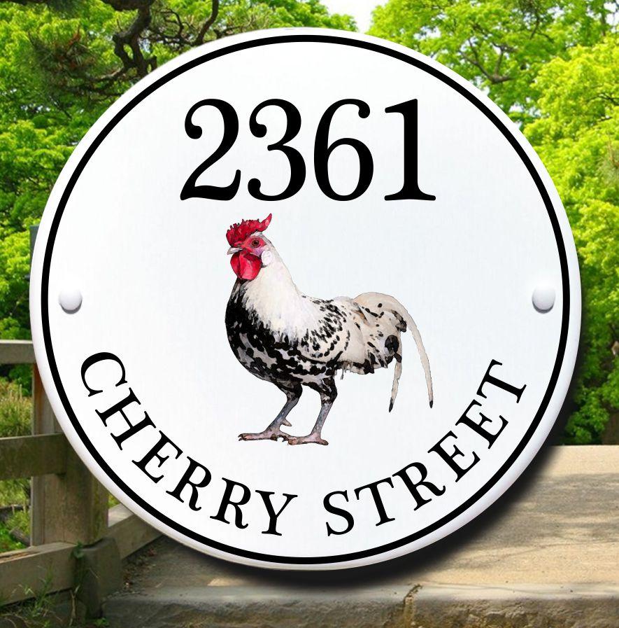 Rooster Cottage Style House Plaque
